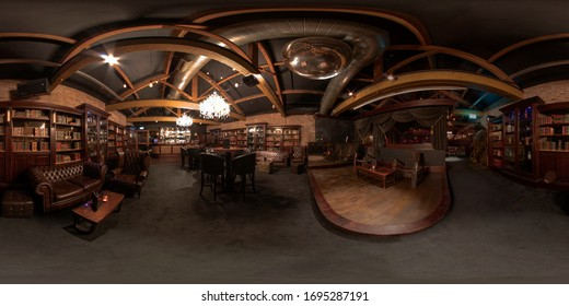 Leeds UK, 5th April 2020: 360 Degree panoramic sphere photo taken at The Whiskey Down Gentlemans Strip Club in Leeds town centre West Yorkshire showing the main old fashioned bar area with alcohol