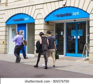 LEEDS, UK - 6 AUGUST 2015.  Picture of  Co-operative Bank Branch
