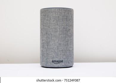 LEEDS, UK - 8 NOVEMBER 2017.  Amazon Echo 2nd Generation Alexa