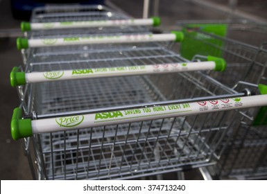 LEEDS, UK - 9 FEBRUARY 2016. Asda Supermarket trolleys outside superstore in Leeds.