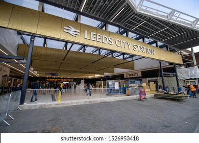 Leeds UK, 9th October 2019: Photo of construction work being done on the Leeds City Train Station located in the Leeds City Centre in West Yorkshire in the UK