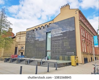 LEEDS, UK - APRIL 29, 2018: Entrance to the Henry Moore Institute, Headrow, Leeds West Yorkshire, UK