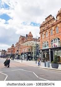 LEEDS, UK - APRIL 29, 2018: Entrance to Victoria Quarter on Vicar Lane, Leeds, West Yorkshire, UK