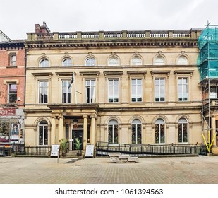 LEEDS, UK - APRIL 3, 2018: A restaurant located in Victorian neo-classical building in central Leeds, UK