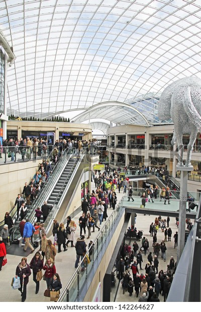 LEEDS, UK - APRIL 4: Shoppers walking through the newly opened Trinity Shopping Centre, Leeds, April 4th, 2013. So far it is the only major shopping mall to open in western Europe in 2013.