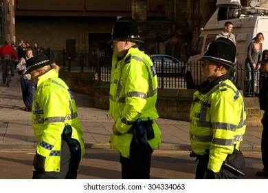 Leeds, UK: Circa August 2009: British policeman waiting during demonstration