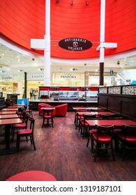 LEEDS, UK - FEBRUARY 19, 2019: An empty and deserted Patisserie Valerie in the indoor mall of White Rose Centre on a busy school half term.