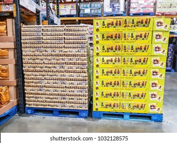 LEEDS, UK - FEBRUARY 23, 2018: Goods for sale in a Costco Wholesale store in Hunslet, Leeds. Costco operates a chain of membership warehouses, carrying merchandise at lower prices.