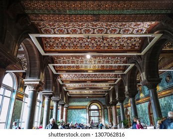 LEEDS, UK - FEBRUARY 6, 2019: The interior of the famous Leeds art gallery restaurant during visiting hours