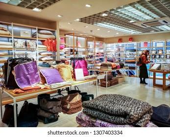 LEEDS, UK - FEBRUARY 6, 2019: Interior of a home furnishing shop, Briggate, Leeds, UK