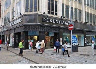 LEEDS, UK - JULY 12, 2016: People shop in Debenhams at Briggate / Kirkgate street in downtown Leeds, UK. Leeds urban area has 1.78 million population.