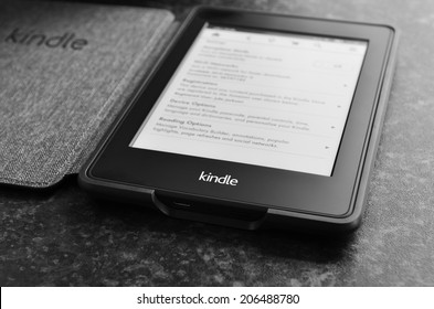 LEEDS, UK - JULY 16: Amazon Kindle paper white e book reader. July 16, 2014 in Leeds, UK.