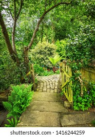 LEEDS, UK - JUNE 02, 2019: The Dell at York Gate Garden, Adel, Leeds, West Yorkshire. York Gate is widely recognized as an outstanding example of 20th century garden design.