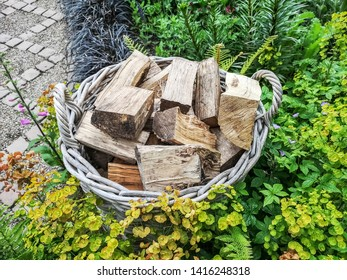LEEDS, UK - JUNE 02, 2019: Split logs at York Gate Garden, Adel, Leeds, West Yorkshire. York Gate is widely recognized as an outstanding example of 20th century garden design.