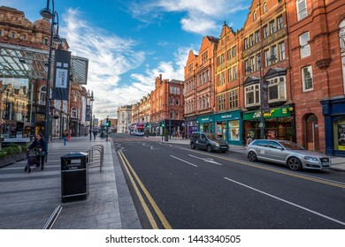 LEEDS, UK -JUNE 2, 2019: Street around Leeds' city center, United Kingdom