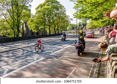 Leeds, UK - May 06, 2018: Stéphane Rossetto, the winner of Stage 4 of the Tour de Yorkshire, cycles past Kirkstall Abbey in Leeds, UK.