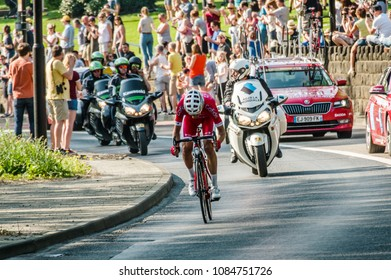 Leeds, UK - May 06, 2018: Stéphane Rossetto, the winner of Stage 4 of the Tour de Yorkshire, cycles through Kirkstall in Leeds, UK.