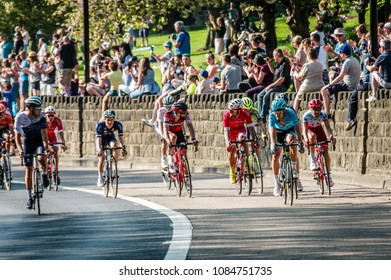 Leeds, UK - May 06, 2018: Cyclists talking whilst competing in stage 4 of the Tour de Yorkshire .