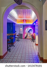 LEEDS, UK - MAY 26, 2019: View of the interior of the Tiffin Inn Indian restaurant at lunch time just after opening