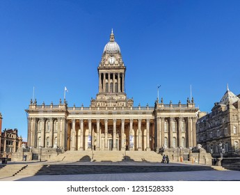 LEEDS, UK - OCTOBER 28, 2018: View of Leeds Town Hall, which was built between 1853 and 1858 on The Headrow  to a design by architect Cuthbert Brodbert