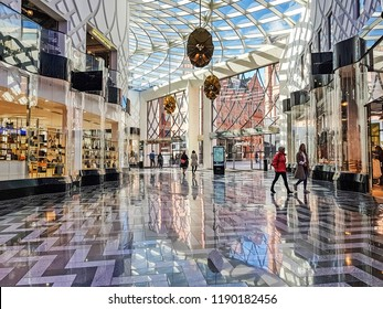LEEDS, UK - SEPTEMBER 23, 2018: Shoppers inside the new Victoria Gate shopping centre. Victoria Gate is a 165 million pound retail development which opened on 21 October 2016