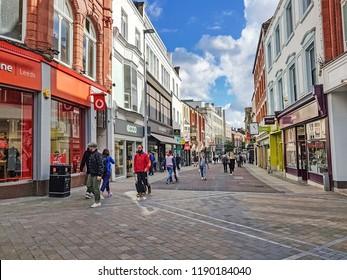 LEEDS, UK - SEPTEMBER 23, 2018: Shoppers on the main pedestrianised shopping street in Leeds, West Yorkshire, UK