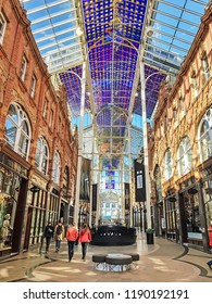 LEEDS, UK - SEPTEMBER 23, 2018: The Interior of the Victoria Arcade. The arcaded streets of Victoria Quarter near Briggate street have many upmarket brand shops.