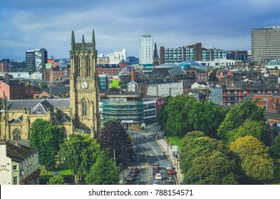 Leeds, The United Kingdom. 23-092017: Aerial view at Leeds Minster, or the Minster and Parish Church of Saint Peter-at-Leeds.