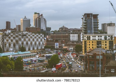 Leeds, The United Kingdom. 23-09-2017: Aerial view at busy Duke street in Leeds.