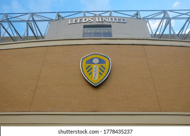 """""""Leeds, United Kingdom- Circa July, 2020: A low angle picture of Leeds United Football Club stadium at Elland Road in evening."""""""