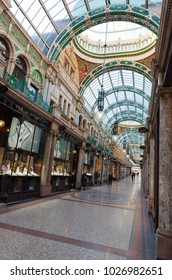 Leeds, United, Kingdom - February 9, 2015. Inside County Arcade in Leeds, a stunning Victorian period shopping arcade.