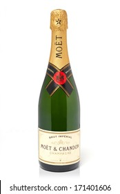 LEEDS, UNITED KINGDOM - July 5th, 2011: Bottle of Moet & Chandon champagne. Studio shot isolated on white