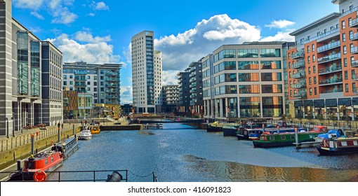 Leeds, The United Kingdom. A view at modern houses by the river of Aire in Leeds.