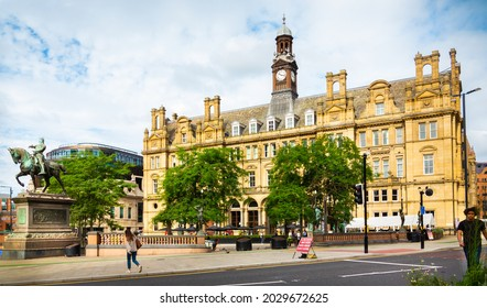 Leeds, West Yorkshire, England - August 20 2021: Leeds City Square with with the Black Prince in the foreground