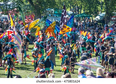 LEEDS, YORKSHIRE, UK:  Participants dressed in colourful costume parade at Potternewton Park during the Leeds West Indian Carnival on August 29, 2016 in Leeds, UK.