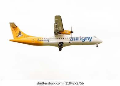 LEEDS, YORKSHIRE, UNITED KINGDOM - AUGUST , 2018: ATR 72, G-LERE, operated by Aurigny Air, landing at Leeds Bradford Airport