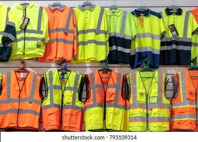 LEEDS, YORKSHIRE, UNITED KINGDOM - JANUARY 10, 2018: Display of high visibility safety clothing in Kirkgate indoor market.