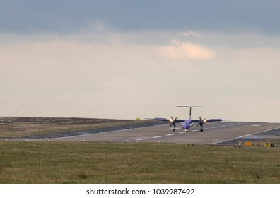 LEEDS, YORKSHIRE, UNITED KINGDOM - MARCH 6, 2018: Bombardier DHC-8, reg G-PRPA, operated by carrier FlyBe, arriving at Leeds Bradford Airport