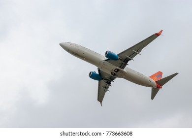 LEEDS, YORKSHIRE, UNITED KINGDOM - NOVEMBER 1, 2017: Boeing 737-800 aircraft, operated by Sunwing Holidays, departs from Leeds/Bradford Airport