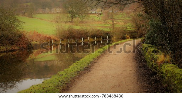 The Leeds-Liverpool Canal in Yorkshire, on a late Autumn Day