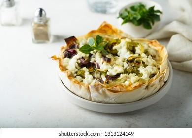 Leek cheese tart