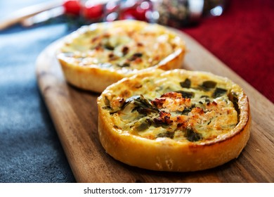 Leek quiche and smoked salmon