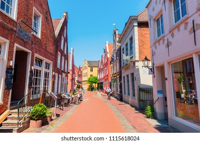 Leer, Germany  May 20, 2018: old town of Leer with unidentified people. Leer, named as the gate of Ostfriesland, has a big amount of historic buildings in a good conservation status