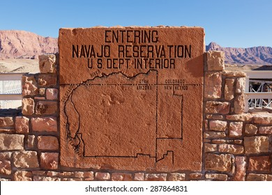 LEE'S FERRY, ARIZONA - JANUARY 25 2011: A rock sign showing a map area of the Navajo Nation placed by the Navajo Bridge just north of the Grand Canyon National Park which is a major tourist attraction.