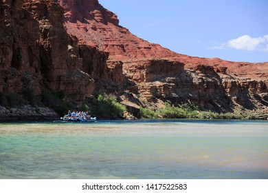 Lee's Ferry, Arizona/USA - May 14, 2019: River rafters float down the Colorado River embarking on a two week journey through the Grand Canyon.