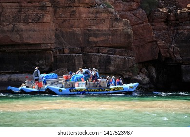Lee's Ferry, Arizona/USA - May 14, 2019: River rafters embark on a two week journey down the Colorado River through the Grand Canyon.