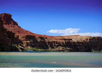 Lee's Ferry, UT/USA - May 14, 2019: River rafters float down the Colorado River through the Grand Canyon