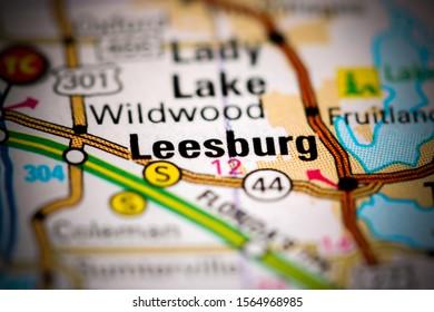 Leesburg. Florida. USA on a map