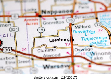 Leesburg. Indiana. USA on a map