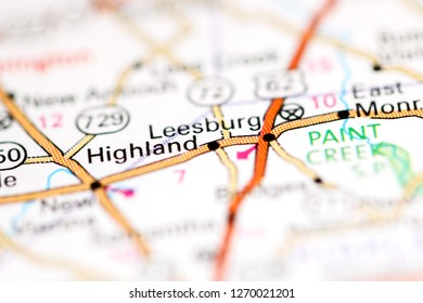 Leesburg. Ohio. USA on a geography map
